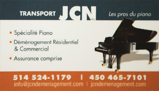 Transport JCN Inc. Les pros du piano